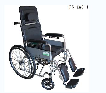 钢铝坐便手推轮椅车FS-1A8-1(固定扶手和活动搁脚座宽43cm)
