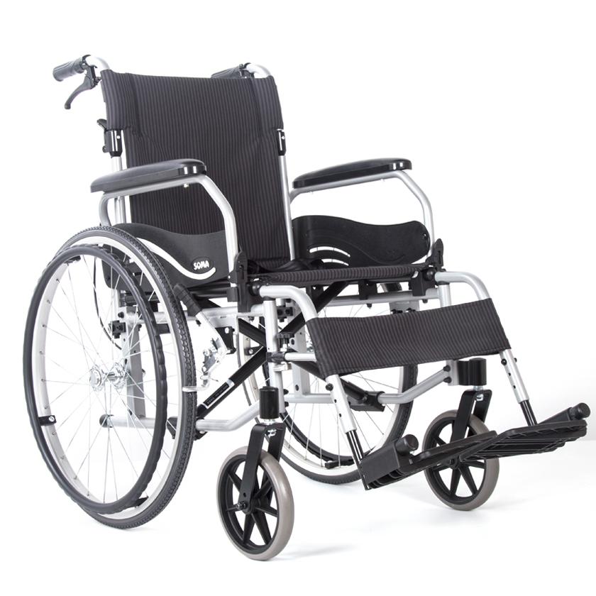 铝合金手推轮椅车 SM-852.2(后背可折弯/扶手可后掀/拨脚可快拆  座宽46cm)